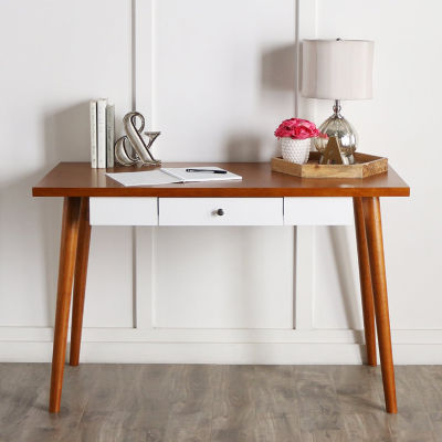 "Home Office 48"" Mid-Century Wood Computer Storage Desk"
