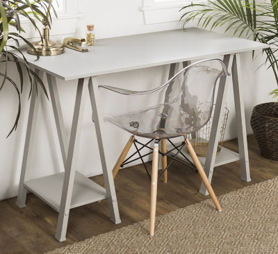 "48"" Wood Sawhorse Computer Desk"
