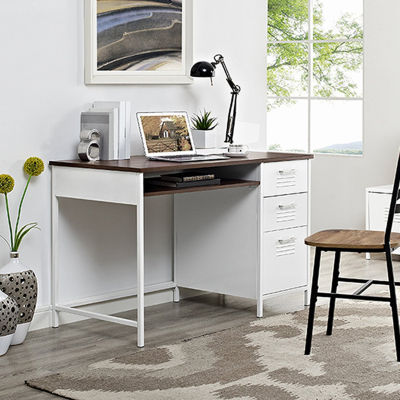 "48"" Metal Locker Style Desk with Wood Top"