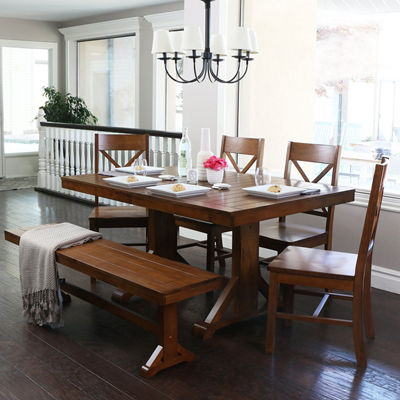 6-pc. Antique Brown Wood Dining Kitchen Set