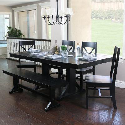 6-pc. Antique Black Wood Dining Kitchen Set