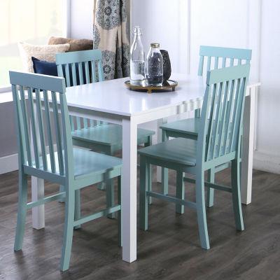 5-Piece White Wood Kitchen Dining Set