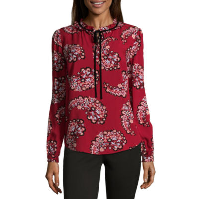 St. John's Bay Long Sleeve Split Crew Neck Woven Blouse
