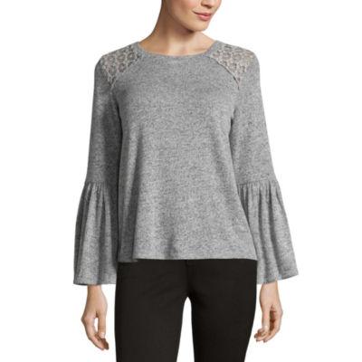 Liz Claiborne Bell Sleeve Lace Shoulder T-Shirt - Womens