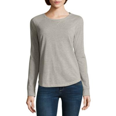 Liz Claiborne® Long-Sleeve Slub Cotton Tee