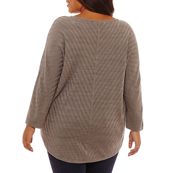 Boutique + Long Sleeve Crew Neck Pullover Sweater-Plus