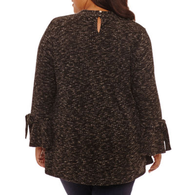Boutique + Long Sleeve Mock Neck Blouse - Plus