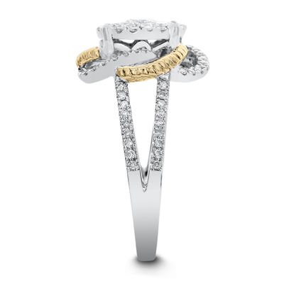Womens 3/4 CT. T.W. White Diamond 14K Two Tone Gold Cocktail Ring