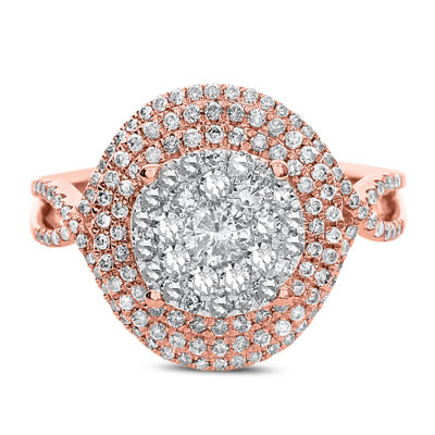 Womens 1 CT. T.W. White Diamond 14K Rose Gold Cocktail Ring