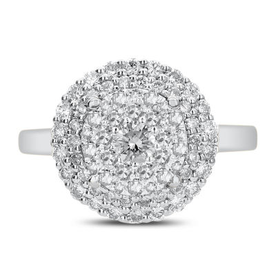 Womens 1 CT. T.W. White Diamond 14K White Gold Cocktail Ring