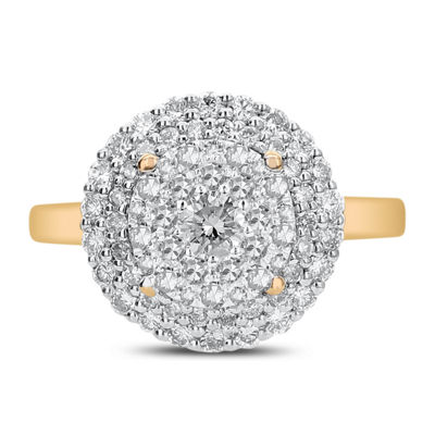 Womens 1 CT. T.W. White Diamond 14K Gold Cocktail Ring