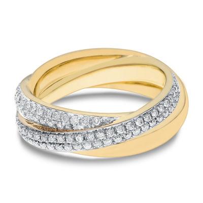Womens 1 CT. T.W. White Diamond 14K Gold Cocktail Ring