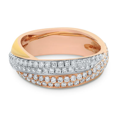 Womens 1 CT. T.W. White Diamond 14K Tri-Color Gold Cocktail Ring