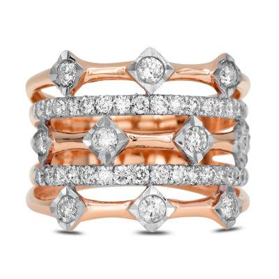 Womens 1 CT. T.W. White Diamond 14K Rose Gold Cocktail Ring