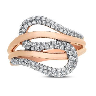 Womens 1/2 CT. T.W. White Diamond 14K Rose Gold Cocktail Ring