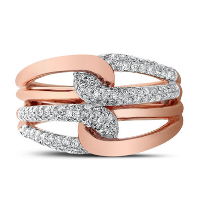 Womens 1/2 CT. T.W. White Diamond 14K Rose Gold Cocktail Ring