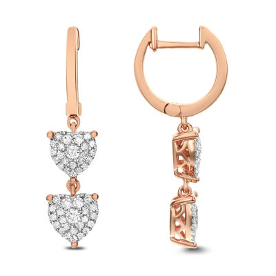 1/2 CT. T.W. White Diamond 14K Rose Gold Drop Earrings