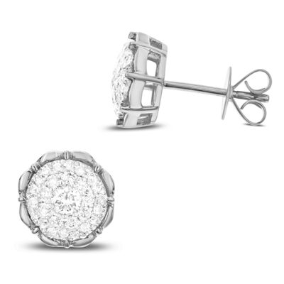 1/2 CT. T.W. White Diamond 14K White Gold 9.9mm Stud Earrings
