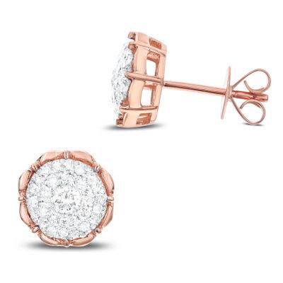 1/2 CT. T.W. White Diamond 14K Rose Gold 9.9mm Stud Earrings