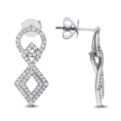 3/4 CT. T.W. White Diamond 14K White Gold Drop Earrings