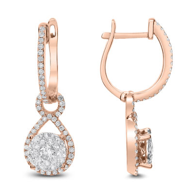 3/4 CT. T.W. White Diamond 14K Rose Gold Drop Earrings
