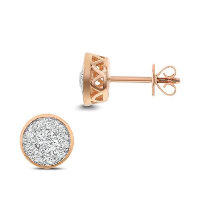 3/4 CT. T.W. White Diamond 14K Rose Gold 8.1mm Stud Earrings