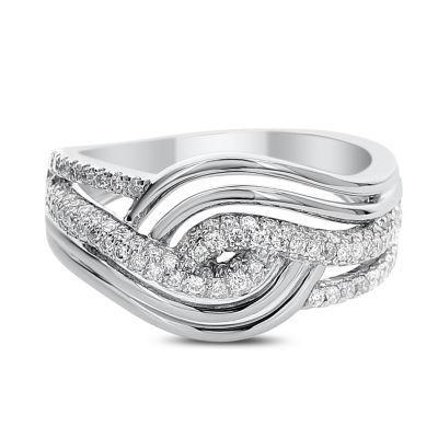 Womens 1/2 CT. T.W. White Diamond 14K White Gold Cocktail Ring