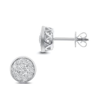 3/4 CT. T.W. White Diamond 14K White Gold 8.1mm Stud Earrings