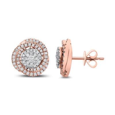 3/4 CT. T.W. White Diamond 14K Rose Gold 11.7mm Stud Earrings