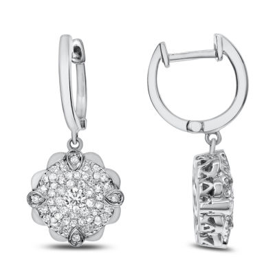 5/8 CT. T.W. White Diamond 14K White Gold Drop Earrings