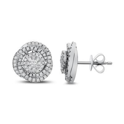3/4 CT. T.W. White Diamond 14K White Gold 11.7mm Stud Earrings