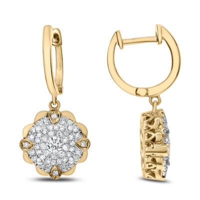 5/8 CT. T.W. White Diamond 14K Gold Drop Earrings