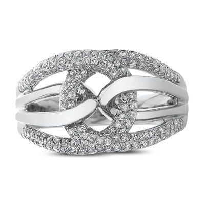 Womens 1/2 CT. T.W. White Diamond 14K White Gold Cocktail Ring