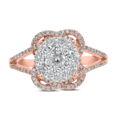 Womens 3/4 CT. T.W. White Diamond 14K Rose Gold Cocktail Ring