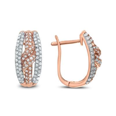 3/4 CT. T.W. White Diamond 14K Rose Gold Drop Earrings