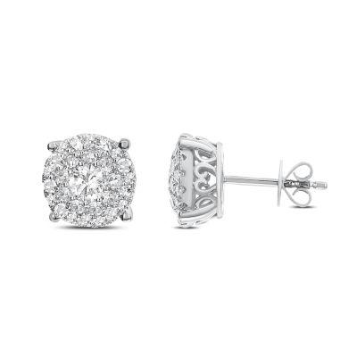 1 1/2 CT. T.W. White Diamond 14K White Gold 9.9mm Stud Earrings