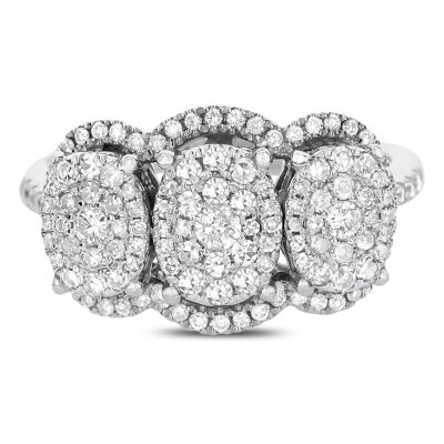 Womens 3/4 CT. T.W. White Diamond 14K White Gold Cocktail Ring