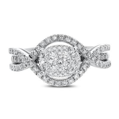 Womens 3/4 CT. T.W. White Diamond 14K White Gold Cocktail Ring