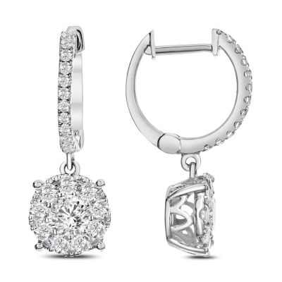 1 CT. T.W. White Diamond 14K White Gold Drop Earrings