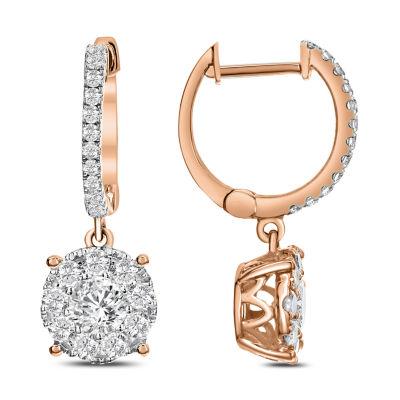1 CT. T.W. White Diamond 14K Rose Gold Drop Earrings