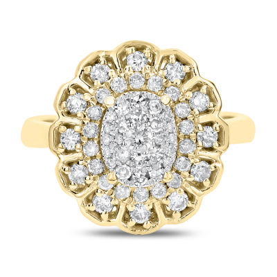 Womens 3/4 CT. T.W. White Diamond 14K Gold Cocktail Ring
