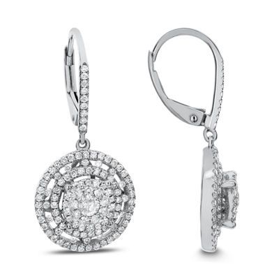 1 CT. T.W. White Diamond 14K White Gold Drop Earrings