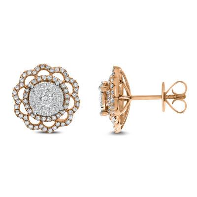1 CT. T.W. White Diamond 14K Rose Gold 13.4mm Stud Earrings