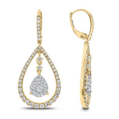 1 1/2 CT. T.W. White Diamond 14K Gold Drop Earrings