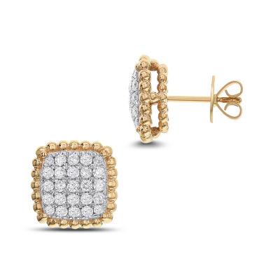 1 CT. T.W. White Diamond 14K Gold 12.8mm Stud Earrings