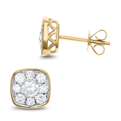 1 CT. T.W. White Diamond 14K Gold 8.6mm Stud Earrings