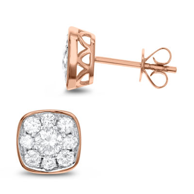 1 CT. T.W. White Diamond 14K Rose Gold 8.6mm Stud Earrings