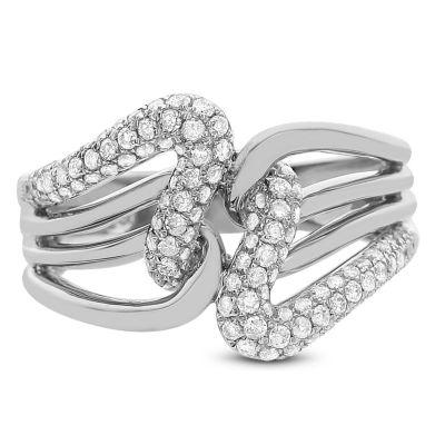 Womens 5/8 CT. T.W. White Diamond 14K White Gold Cocktail Ring