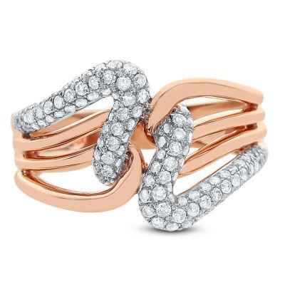 Womens 5/8 CT. T.W. White Diamond 14K Rose Gold Cocktail Ring