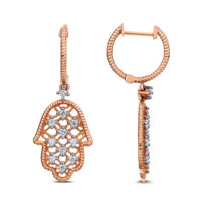 1/3 CT. T.W. White Diamond 14K Rose Gold Drop Earrings